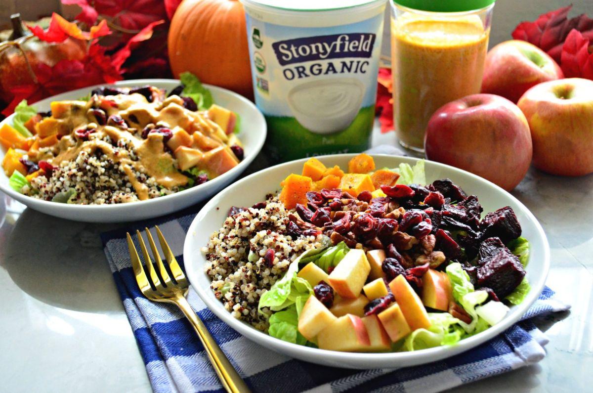 Harvest Quinoa Salad with Pumpkin Yogurt Dressing