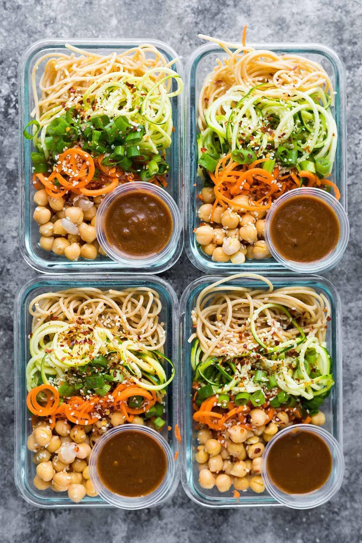 Cold Sesame Noodle Meal Prep Bowls