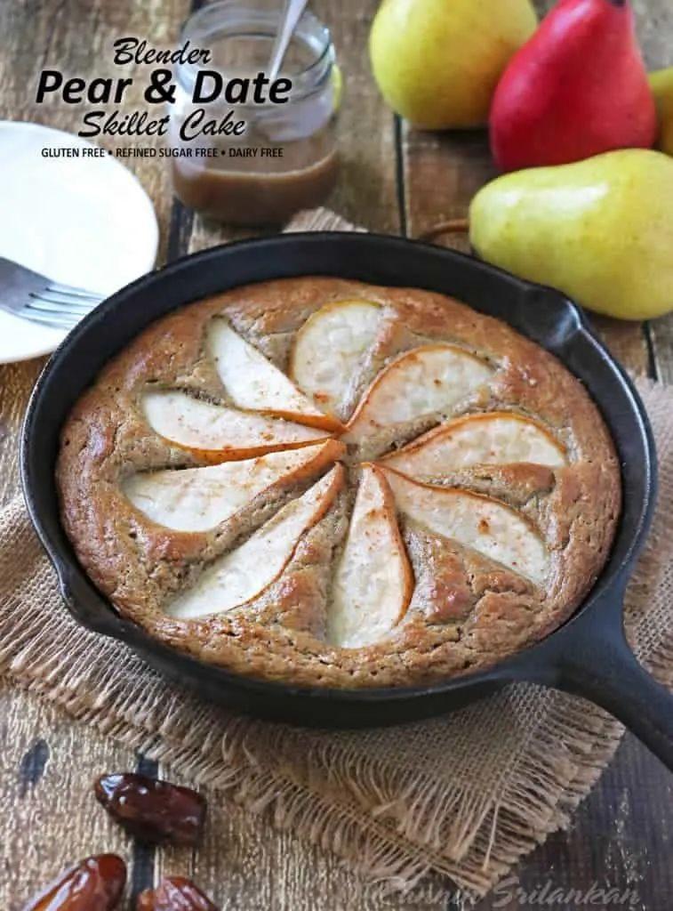 Pear Date Skillet Cake