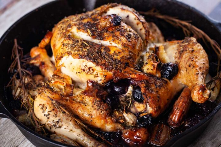 Whole Roasted Chicken with Brie and Grapes