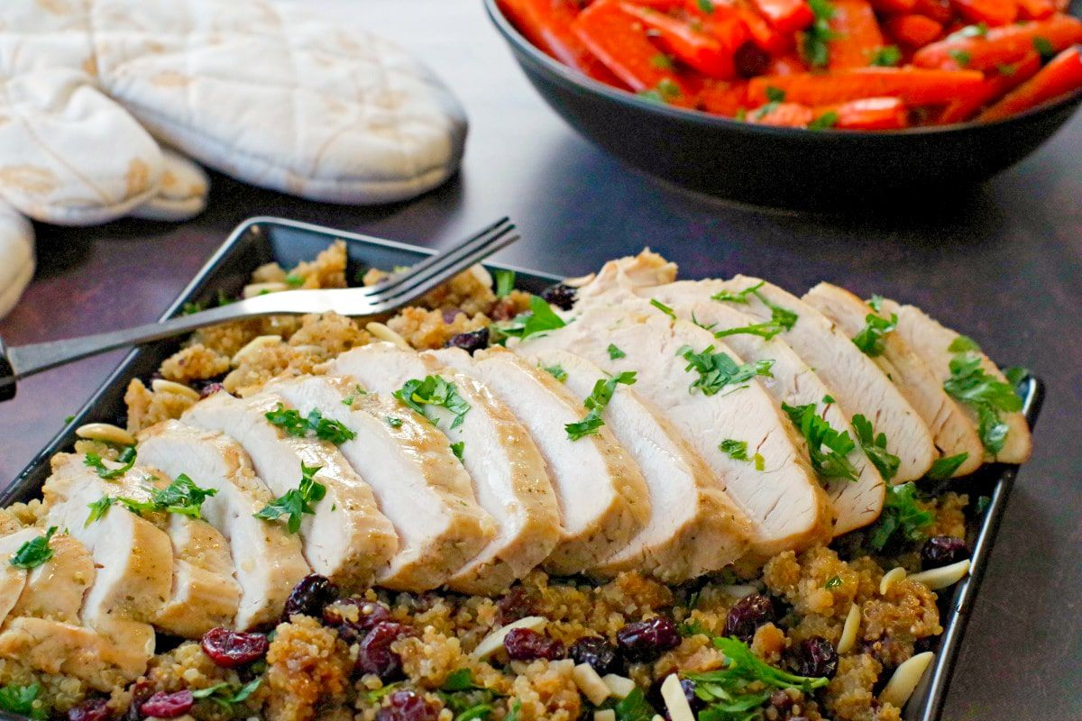 Slow Cooker Turkey Breast with Quinoa Cranberry Dressing