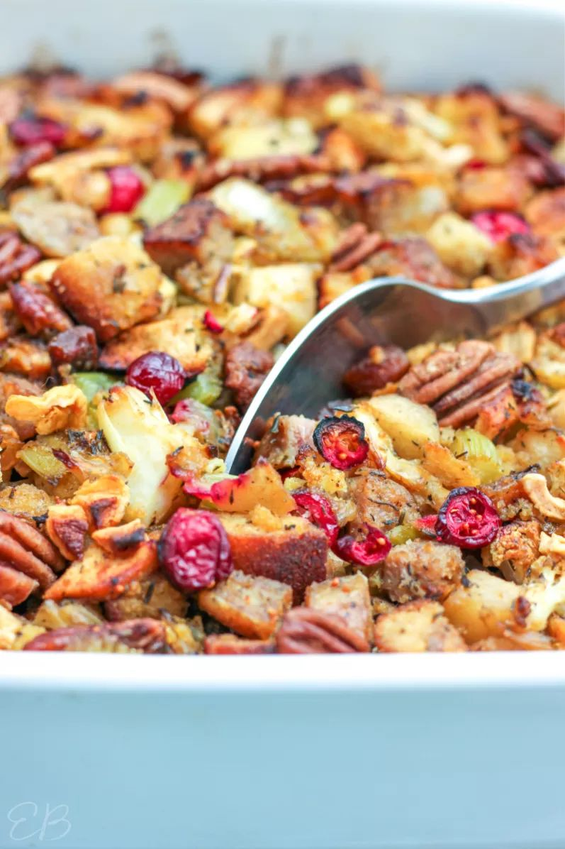 Keto Paleo Stuffing with Sausage, Fruit, and Pecans