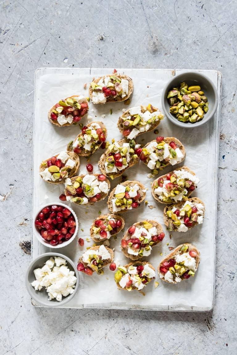 Pistachio, Feta, and Pomegranate Crostini