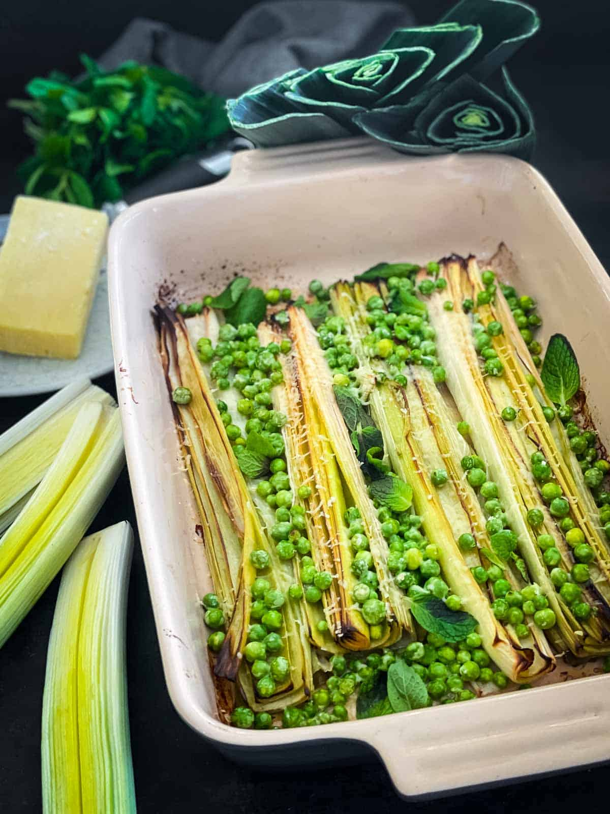 Roasted Leeks and Peas