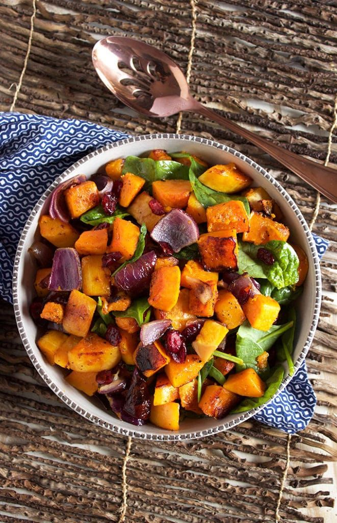 Roasted Butternut Squash with Spinach and Cranberries